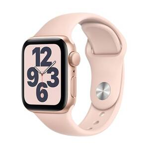 Apple Watch SE GPS, 40mm Gold Aluminium Case with Pink Sand Sport Band - Regular